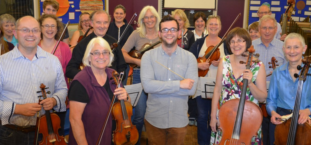 New conductor Jack Lovell with the Royal Forest of Dean Orchestra at rehearsal.